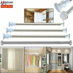 Telescopic Shower Curtain Rail Extendable Pole Bathroom Door Window Wardrobe Rod