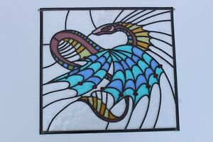 Newly crafted Traditional Stained Glass Window Panel DRAGON 572mm by 527mm