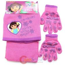 Dora the Explorer Beanie Hat Glove Scarf 3pc Set  Snow Days Pink