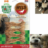 Dog Chew Treats Long Lasting Bison Snack Bones 4 Pieces Wild Natural Pet Pack