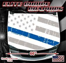 Police Thin Blue Line White Vinyl Hood Wrap Bonnet Decal Sticker Graphic