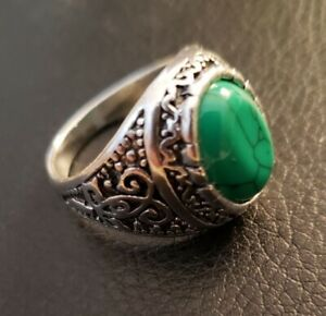 Stainless Steel Intricately Carved Band Green Oval Man Made Unisex Gem Ring