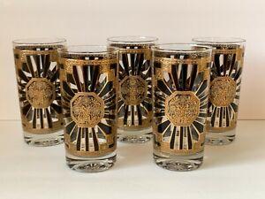"Georges Briard Mid Century Art Deco Pattern 5 5/8"" Highball Glasses – Set of 5"