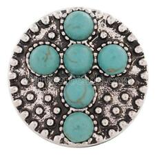 Turquiose Colored Stone Cross Religious 20MM Snap Button Charm Silver Plated New