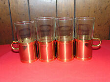 """VINTAGE BRASS DRINKING GLASS HOLDERS SET OF 4 STANDS 5"""" TALL"""