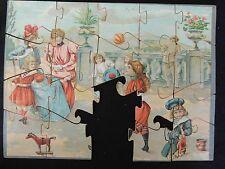 Ancien puzzle jeux d'enfants cerceaux poupées fin XIX- début XXème