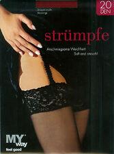 EDEL Straps-Strümpfe, Satinglanz, feine Spitze, 20den, rubinrot, 44-46  *MY way*