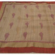 Sanskriti Vintage Beige Heavy Saree 100% Pure Khadi Silk Woven Fabric 5 Yd Sari