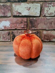 Stunning glamour orange crushed velvet fabric pumpkin home Halloween decoration