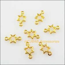 100Pcs Gold Plated Tiny Star Circle Charms Connectors Pendants 5.5x10mm