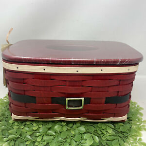 Longaberger Santa Belly Tissue Basket Plastic Protector Woodcraft Lid New No Box