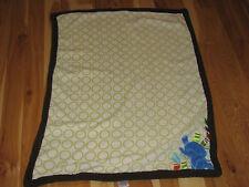 Taggies Blue Elephant White Green Circle Polka Dots Brown Trim Baby Blanket