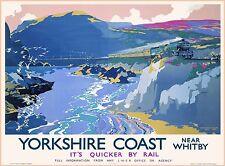 Yorkshire Coast Near Great Britain England Vintage Travel Advertisement Poster