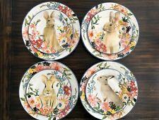 NEW Pottery Barn FLORAL RIM Dinner + FLORAL BUNNY Salad Plates SET OF 8 Easter