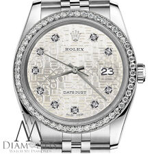 Unisex Rolex Watch 36mm Datejust Silver Jubilee Metal Plate Diamond Dial & Bezel