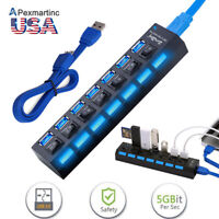 7 Port USB 3.0 HUB High Speed Splitter Expansion Adapter PC Laptop PS4 w/ Switch