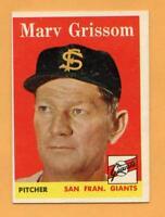 1958 Topps Baseball Card #399 Marv Grissom -- Giants (VG-EX)