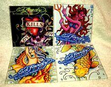 NEW ED HARDY COASTERS Christian Audigier 4 GLASS,Mermaid,Koi,Devil,skull FISH