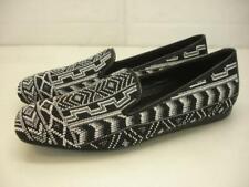 Women's 10 M Donald J Pliner Aryn Loafer Shoes Black White Beaded Flats Slippers