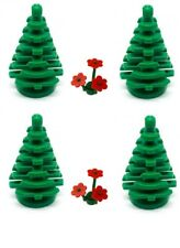 LEGO Trees 4 x Small Green Pine Christmas with Red Flowers NEW Forest Plants