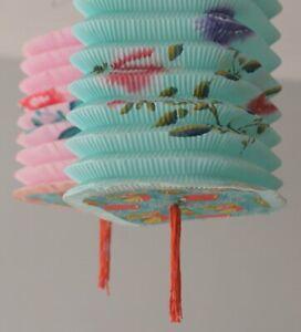 2 Vintage Paper Lanterns Pink + Blue