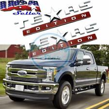 2 Pcs 3D Texas Edition Emblem Silver Chrome Stickers For Ford GMC Toyota Tundra