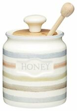 Classic Collection Striped Ceramic Honey Pot with Wooden Dipper