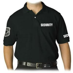 NEW MEN'S EMBROIDERY PATCH SECURITY GUARD UNIFORM BLACK POLO SHIRT ALL SIZE