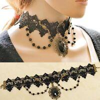 Black Lolita Gothic Lace Flower Choker Necklace Beads Chain Pendant Rose Decora
