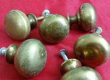 "Six (6) Used Brass Drawer Pulls Knobs 1 1/4"" Diameter 1 2/8"" Depth Reclaimed"