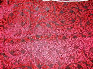 Jacquard Stoff Meterware Ornamente Gothic Schwarz Rot