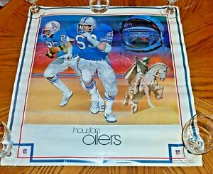 """Houston Oilers 1980 NFL Art Poster 23"""" x 25"""" Demac Inc... Titans New in Package"""