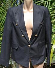 LINEN Black Jacket. Size 14 NEW.rrp $59.99 Classic Gold Buttom trim