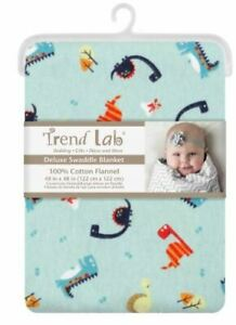 Trend Lab Blue print Jumbo Deluxe Flannel Swaddle Blanket  100% cottons #256