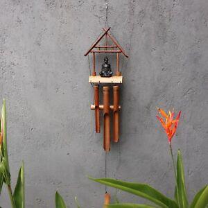 Bamboo Windchime - Natural finish -Black Buddha 6 Tubes