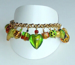 MURANO Glass Besotted Charm Bracelet Made in ITALY Gift Boxed, Excellent Quality