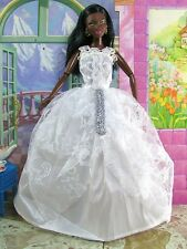 BARBIE SIZED  EVENING GOWN FULL LENGTH ULTRA FORMAL WHITE NEW #66