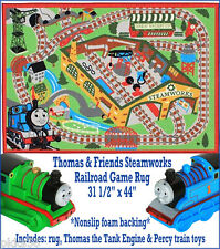 NEW Thomas & Friends Steamworks Railroad Game Rug W/ Thomas & Percy Train Toys