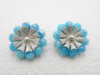 Vintage Coro Marbled Baby Blue Lucite Plastic Beads & Silver Tone Clip Earrings