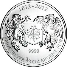 Canada 3/4 oz Silver 2012 War of 1812 NICE BU .9999 Fine $1 Dollar Coin 0.75