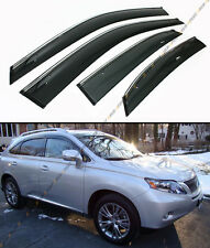FOR 2010-2015 LEXUS RX350 RX450H CLIP-ON SMOKE TINTED WINDOW VISOR CHROME TRIM
