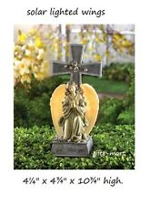 SOLAR praying angel Cross Light outdoor garden Statue Pet Memorial grave marker