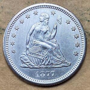 1877-CC Seated Liberty Quarter  AU/UNC Details