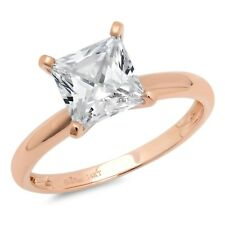 2.85 ct BRILLIANT Princess CUT SOLITAIRE ENGAGEMENT RING Solid 14K Rose GOLD