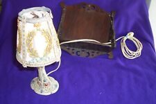 SMALL VINTAGE VICTORIAN METAL 4 PANELED Ornate Floral LAMP SHADE AND LAMP USA