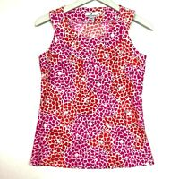 Jude connally sleeveless shift tank top pink orange printed size xs