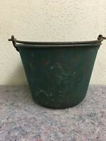 Vintage Brass Bucket With Natural Green Oxidation & Handle