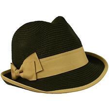 2 Tone Ribbon Bow Beach Summer Fedora Trilby Crusher Sun Cap Hat Black Khaki