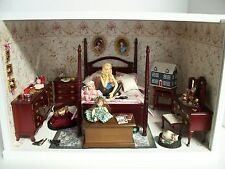 Girl's Bedroom Dollhouse Miniature Display Room Shadow Box & Accessories Doll