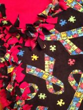 Handmade FLEECE TIE-BLANKET Novelty Puzzle Lover's Multi Red 58X72 - 2 layers